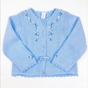 Carters Blue Floral Button Down Sweater 18 Months
